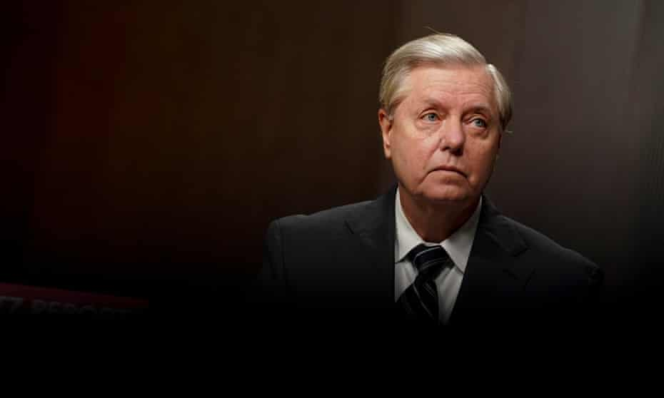 Lindsey Graham, chairman of the Senate judiciary committee, listens during a hearing on Capitol Hill.