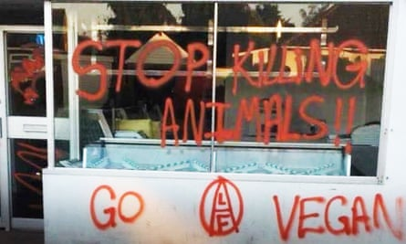 A shop vandalised by vegan activists in France
