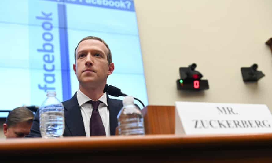 Mark Zuckerberg testifies at a House financial services committee hearing in Washington, 23 October 2019.