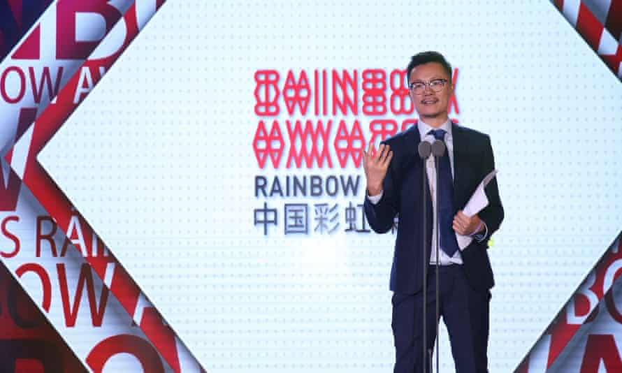 Xiaogang Wei presenting China's Rainbow Media Awards