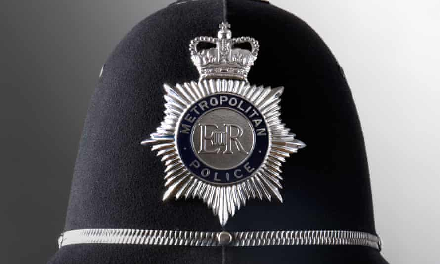 A metropolitan police officer's helmet
