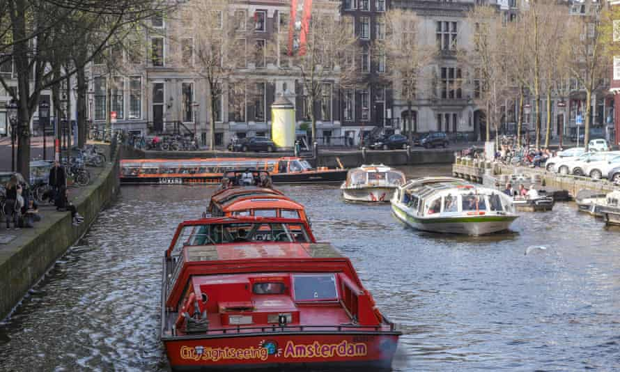 Boats and vessels on an Amsterdam canal.