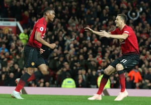 Anthony Martial celebrates scoring the equaliser.