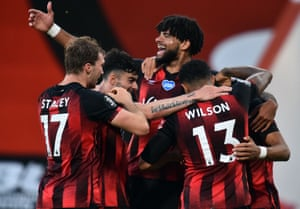 Bournemouth celebrate a much needed victory.