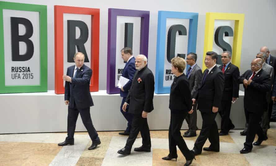 Russia's Vladimir Putin (L), India's Narendra Modi (3rd L), Brazil's Dilma Rousseff (4th L), China's Xi Jinping (6th L) and South Africa's Jacob Zuma (R) at a Brics summit last year.