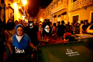 San Juan, Puerto Rico: Protesters barricade the street leading to the governor's mansion