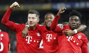 Robert Lewandowski, David Alaba and Alphonso Davies celebrate a comprehensive victory.