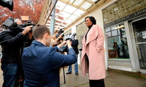 Pressley speaks to reporters after voting at the Adams Street Library on Election Day in Boston, Massachusetts.