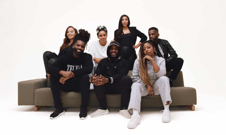 0207 Def Jam ... (from left) Jacqueline Eyewe, Wretch 32, Amy Tettey, Alec Boateng, Heidi Jacob, Char Grant and Alex Boateng.