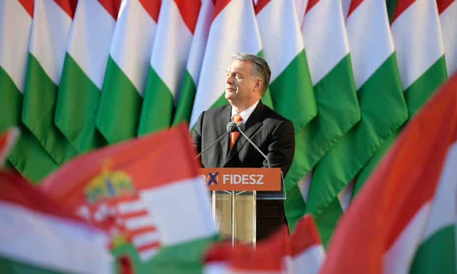 Hungary's prime minister Viktor Orbán at an electoral rally in April 2018.