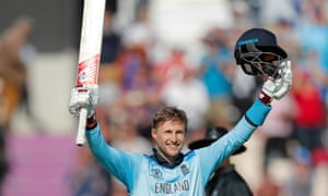 Joe Root raises his bat to complete his century and an excellent day with both the bat and the ball.
