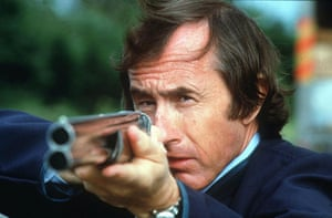 Jackie Stewart at the 1986 Rolex Clay Pigeon Shoot.