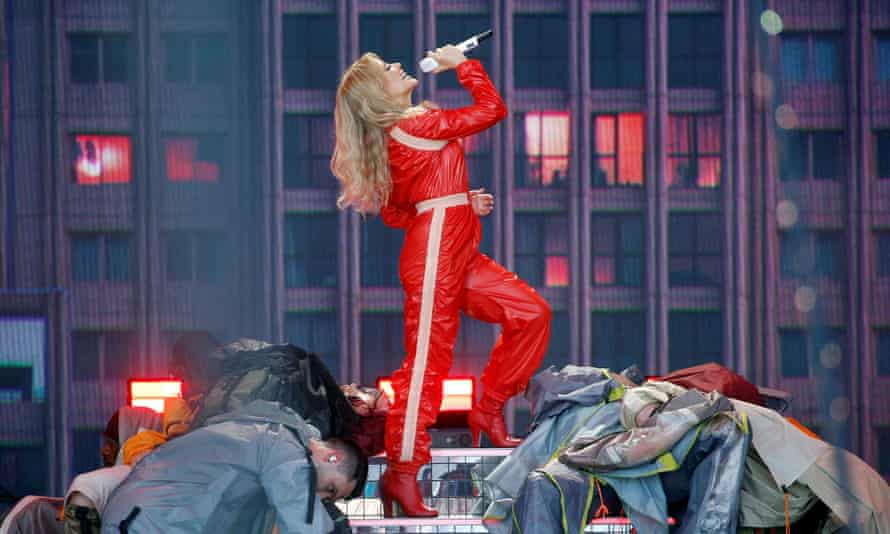 Kylie Minogue performing at Glastonbury 2019.