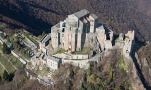 Aerial view of Sacra di San Michele, Piedmont, Italy