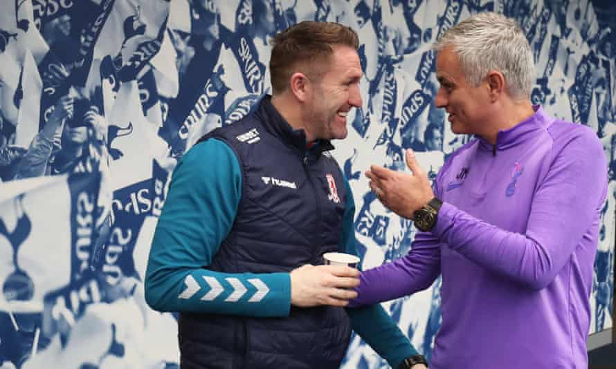 Robbie Keane chats to José Mourinho before Middlesbrough take on Tottenham in the FA Cup.