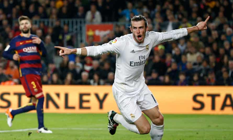 Real Madrid's Gareth Bale celebrates scoring his 'goal' that was later disallowed by the referee