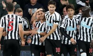 Newcastle's Ayoze Pérez celebrates scoring against Watford.