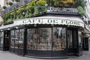 The closed Cafe de Flore in Paris