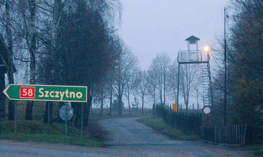 A watch tower overlooks the area near the Polish intelligence school just outside of Stare Kiejkuty, Poland. Poland is paying a $250,000 to two terror suspects allegedly tortured by the CIA in its secret facility in this country.
