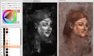 Il processo di ricostruzione del colore della faccia nascosta, basata sull'identificazione di elementi sottosuolo dei pigmenti usati da Degas.