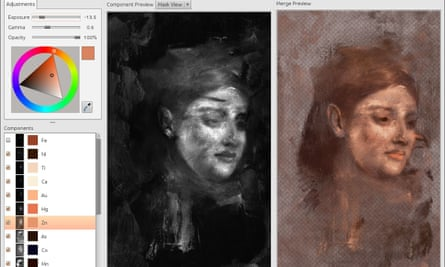The process of reconstructing the colour of the hidden face, based on the identification of subsurface elements of the pigments used by Degas.