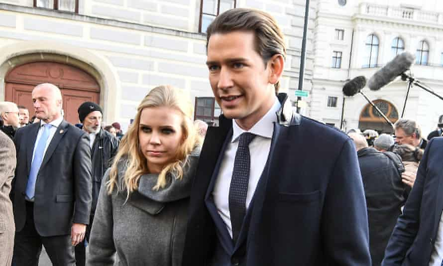 Sebastian Kurz and his girlfriend, Susanne Thier, pictured after the inauguration of the new coalition government.