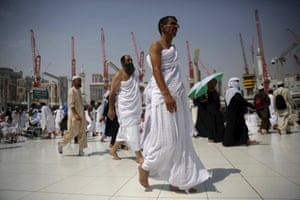 Muslim pilgrims move in circles around the holy Kaaba