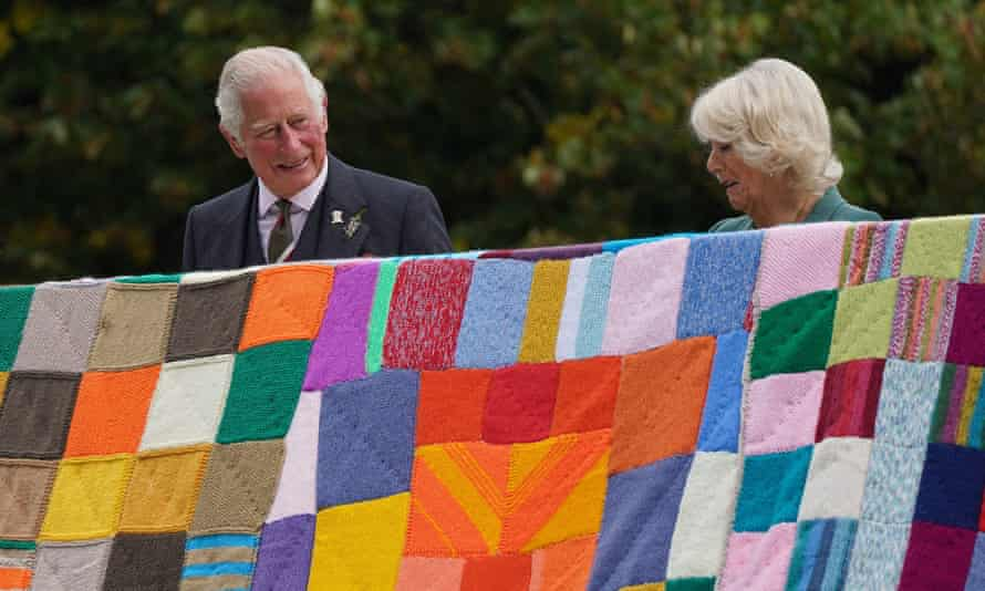 Prince Charles and the Duchess of Cornwall unveil a knitted artwork for the Prince's Foundation at Dumfries House