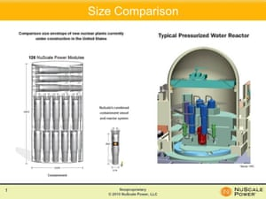 A comparison of small nuclear reactors (left) with a traditional reactor at a nuclear power plant.