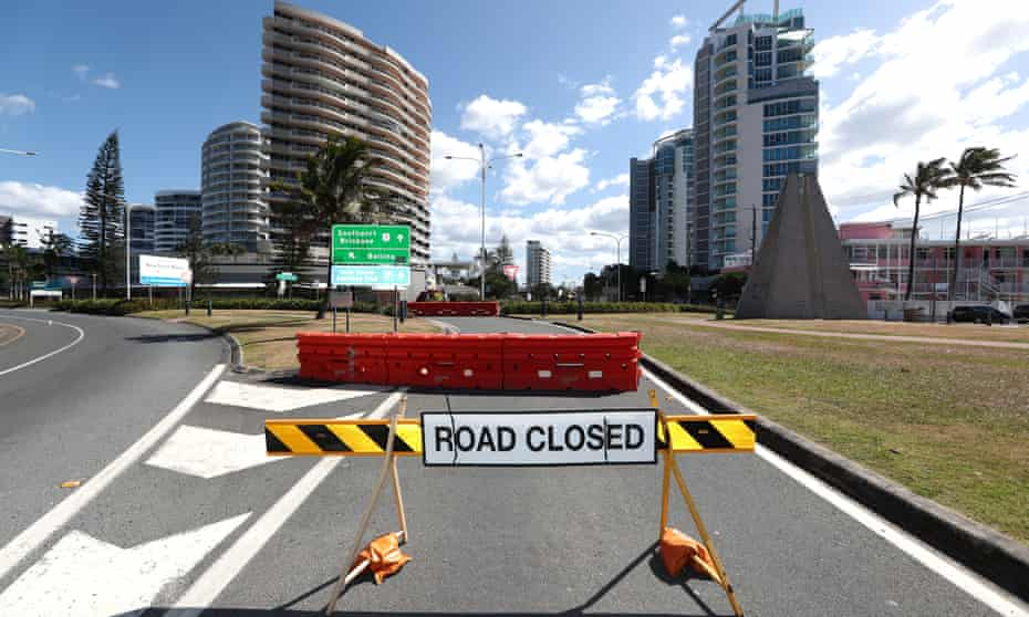 Closed road at Queensland-NSW border
