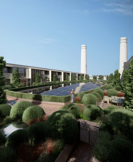 An artists's impression of how the rooftop garden at Battersea Power Station will look when built.