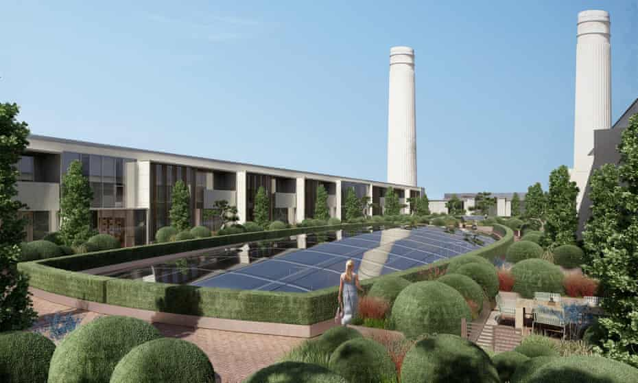 The rooftop garden at the Battersea Power Station redevelopment in south London. Only 386 affordable flats will now be built at the site.