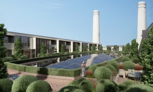 Two landmark chimneys rise above the rooftop gardens at the Battersea Power Station project in this artist's impression