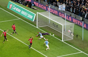 Sterling has his goal disallowed for offside.