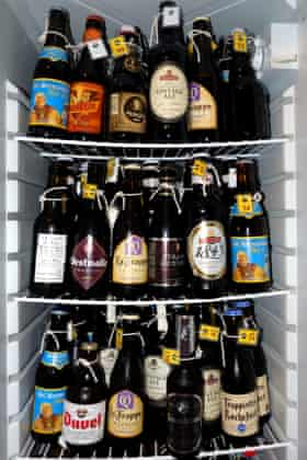 Samples from Tony's special fridge full of carefully-aged beers