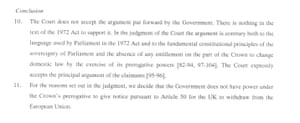 Conclusion of summary of article 50 judgement