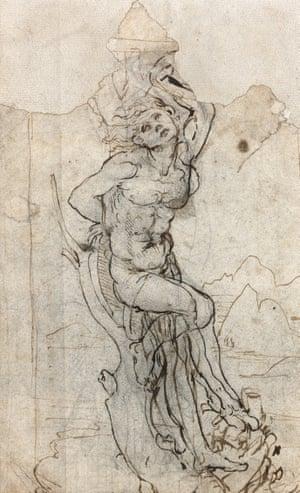 Study for a San Sebastian in a landscape The Martyred Saint by Leonardo Da Vinci