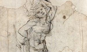 A detail of the study for Saint Sebastian, believed to be by Leonardo Da Vinci.