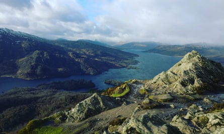 A view of Loch Katrine from Atop the Blustery Ben A'an