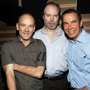 Michael Stipe, Douglas Coupland and Jeff Koons ata New York art show in 2008.