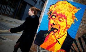 Picture of Boris Johnson on wall