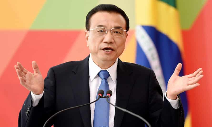 China's Li Keqiang speaks during a joint press conference with Brazilian president Dilma Rousseff in Brasilia.