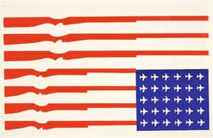 A poster by an anonymous artist in the early 1970s channelled the anger at the war in Vietnam. Subverting the Stars and Stripes, the flag is turned upside down with the stripes turned into rifles and the stars in to planes, a reference to the millions of bombs dropped on the country during the war.
