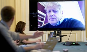 Boris Johnson chaired a meeting remotely last week after testing positive for the coronavirus