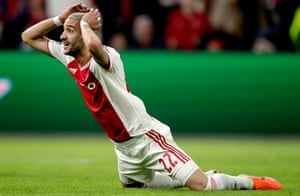Hakim Ziyech goes close to snuffing out Spurs' comeback when his first-time slapshot whistles inches wide of the right-hand post. He goes even closer with 11 minutes to go when his shot beats Lloris but smacks against the base of the post