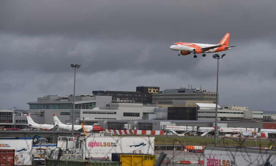 An easyJet plane comes in to land at Gatwick