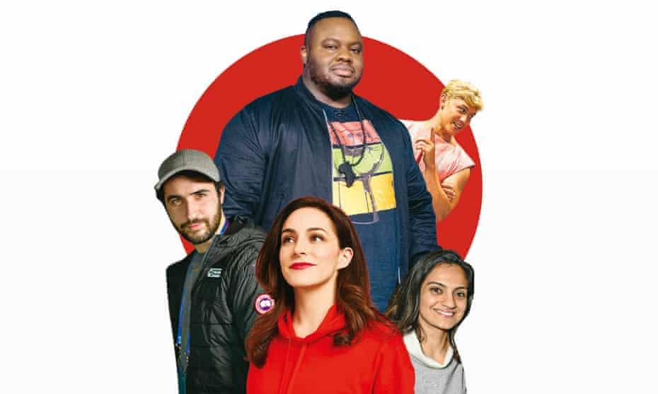 Clockwise from top: Nabil Abdulrashid, Jon Pointing, Nida Manzoor, Janine Harouni, Jordan Firstman.