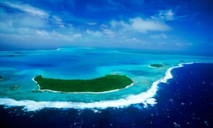 Aerial view of Aitutaki atoll and lagoon in Cook Islands South PacificC63CT1 Aerial view of Aitutaki atoll and lagoon in Cook Islands South Pacific