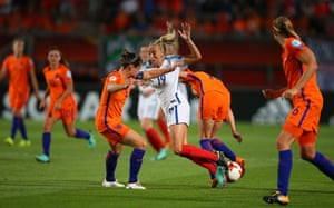 Toni Duggan is crowded out by the Dutch defence.