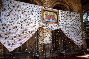 A picture of the three Kings is displayed on cloth decorated with flowers on Debre Birhan Selassie church